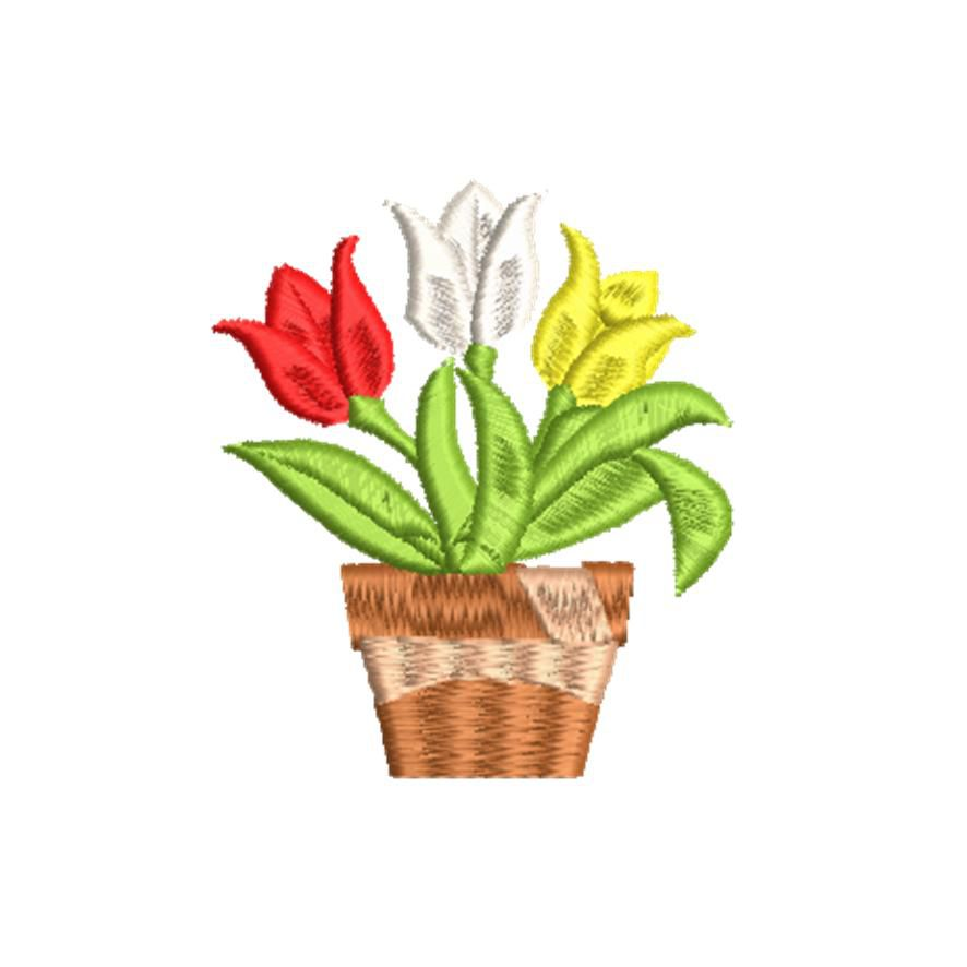 BRODERIE TULIPES EN POT