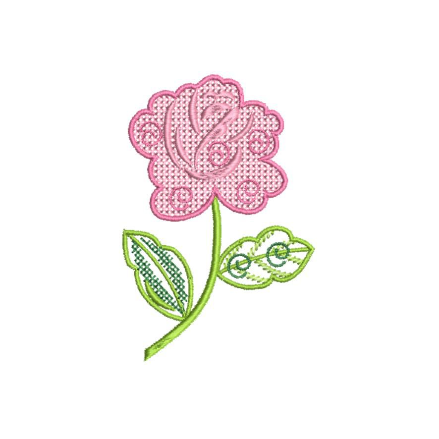 BRODERIE ROSE POINT FANTAISIE
