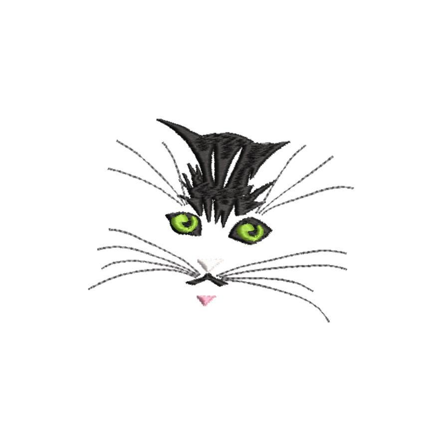 BRODERIE CHAT AUX YEUX VERTS