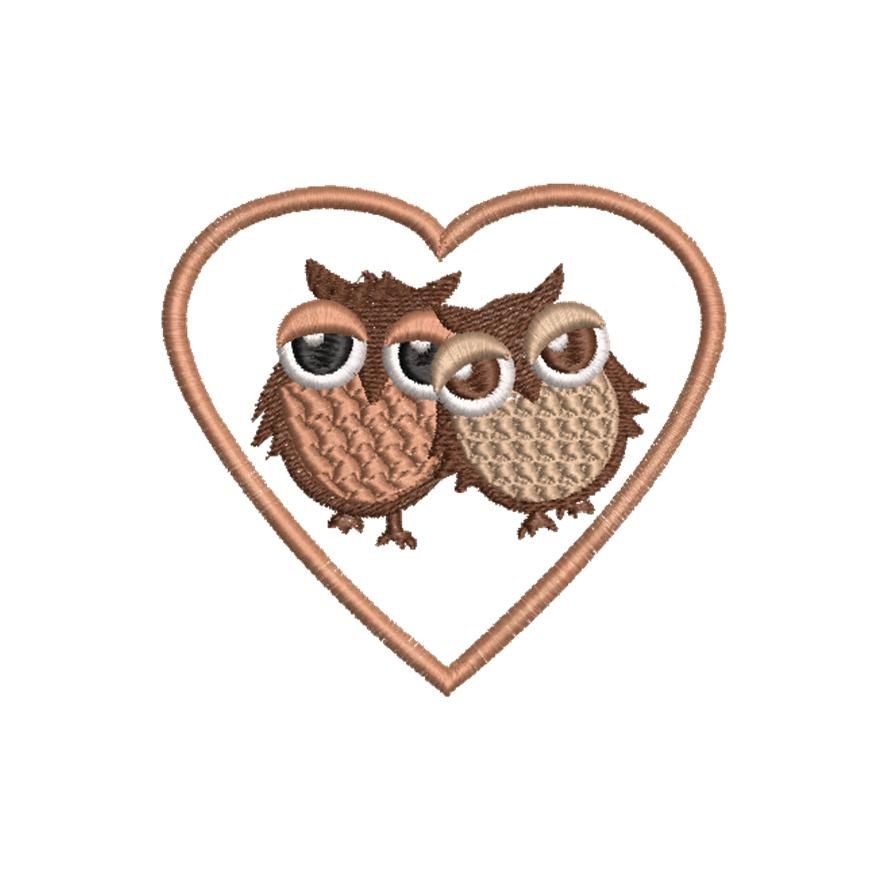 BRODERIE CHOUETTE HIBOU AMOUREUX