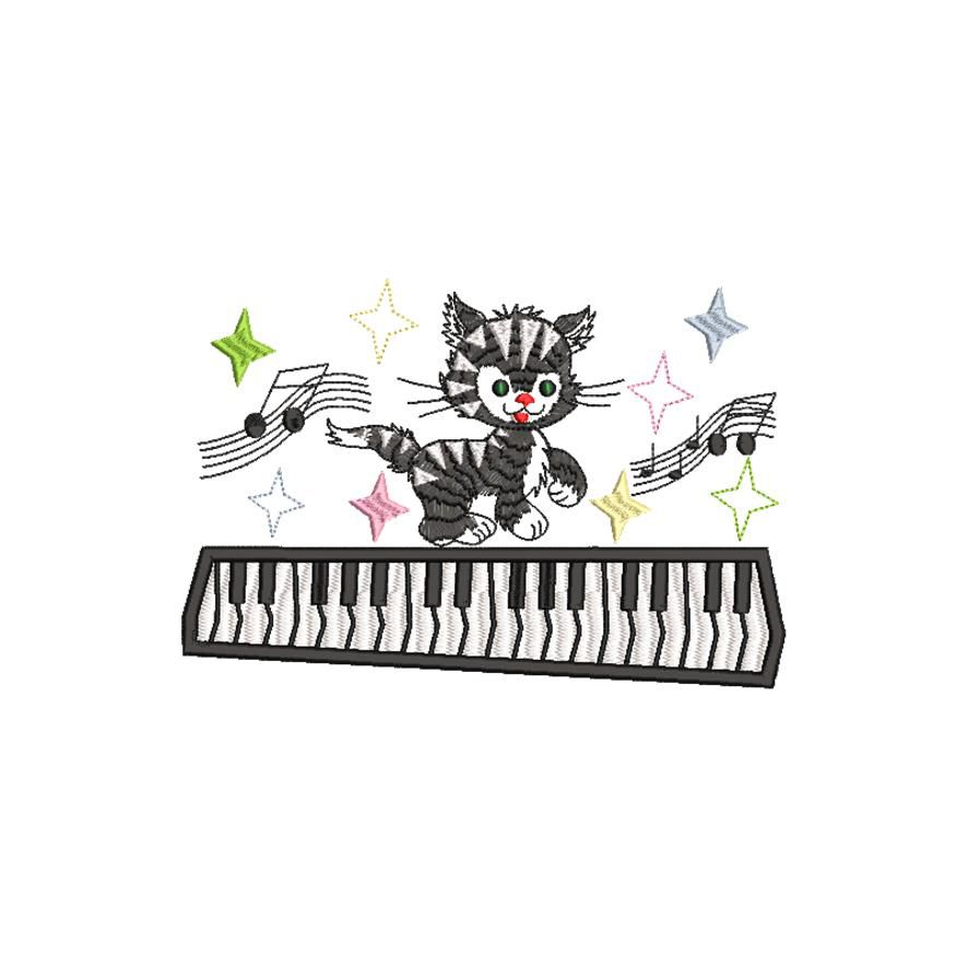 BRODERIE CHAT MUSICIEN