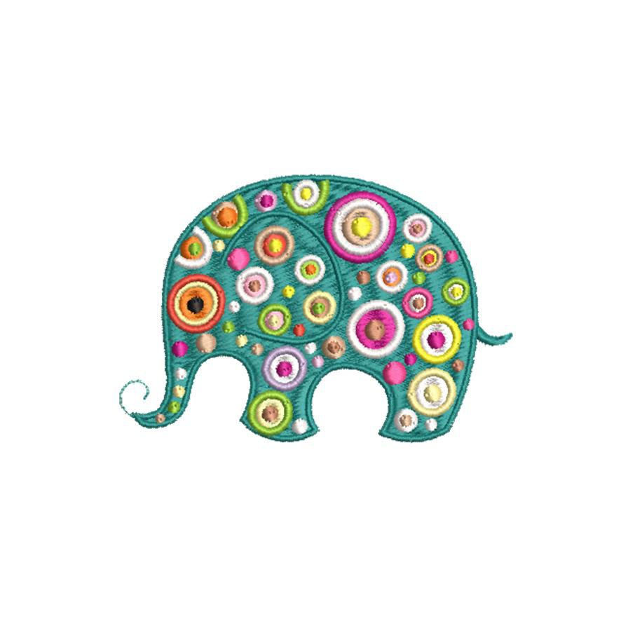 BRODERIE ELEPHANT BARIOLE