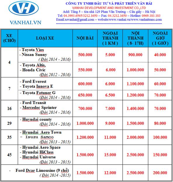Bảng giá cho thuê xe của công ty Vân Hải