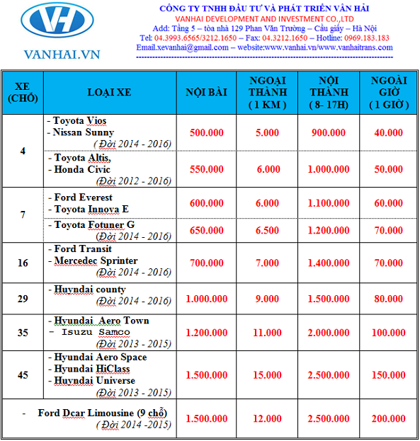 Bảng giá cho thuê xe theo tháng của Vân Hải