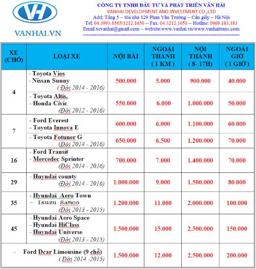 Bảng giá cho thuê xe du lịch các loại của công ty Vân Hải