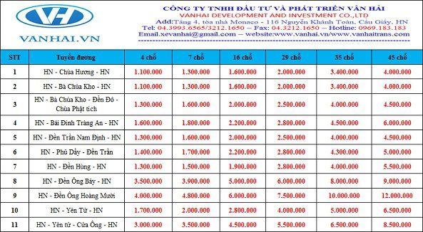 Bảng giá cho thuê xe du lịch lễ hội của công ty Vân Hải
