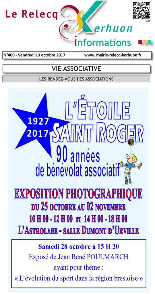 1927-2017 - L'ÉTOILE SAINT ROGER - 90 ANNÉES DE BÉNÉVOLAT ASSOCIATIF - EXPOSITION PHOTOGRAPHIQUE