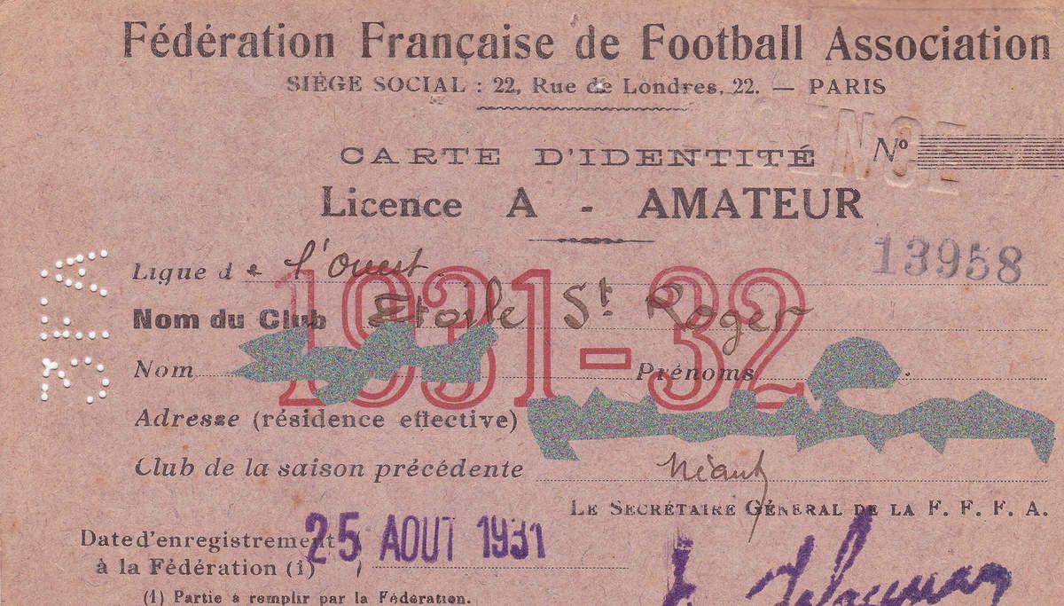 La licence la plus ancienne et la plus récente de la section football