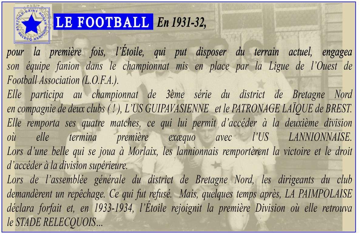 LICENCES FOOTBALL ÉTOILE SAINT ROGER (DE 1931 À 2014)