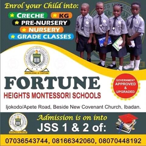 Behold Fortune Heights College Enterance Examinations into Jss 1 and 2 is here.
