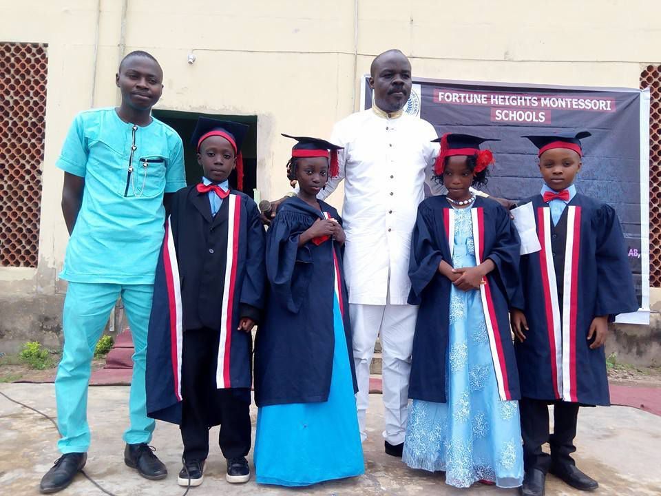 Ibrahim with classmates, Administrator and Proprietor of the school