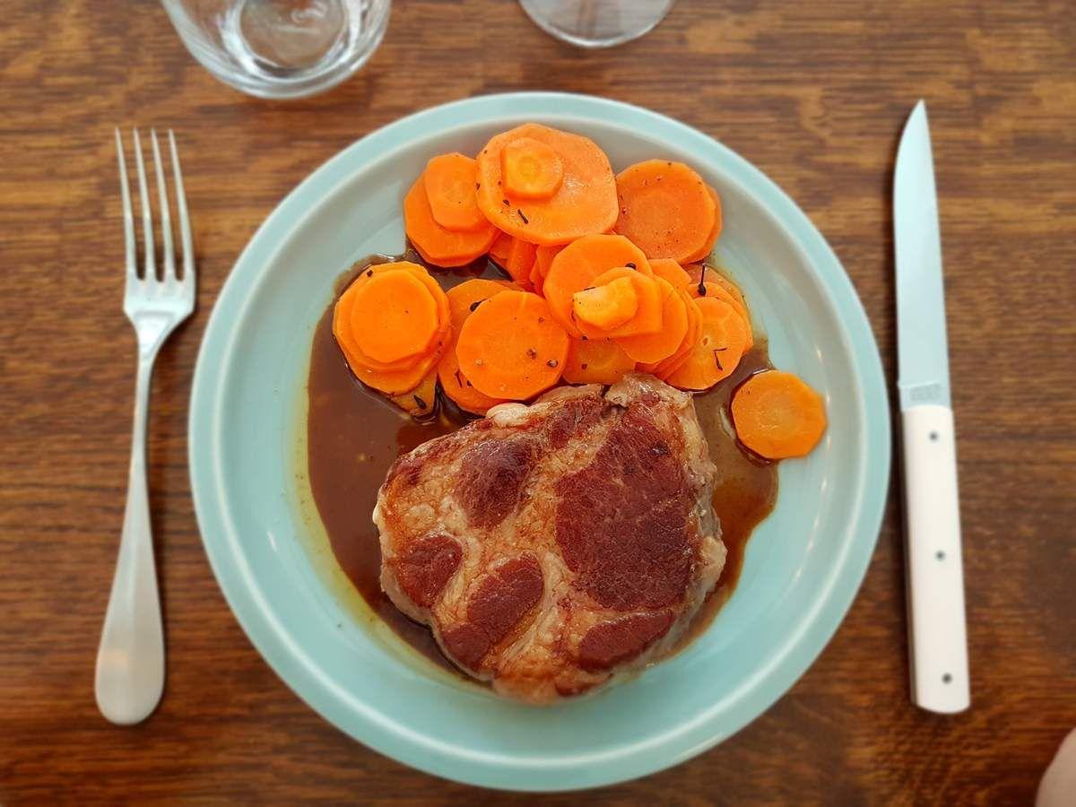 Echine de cochon Kintoa carottes Amarante Restaurant Paris 12