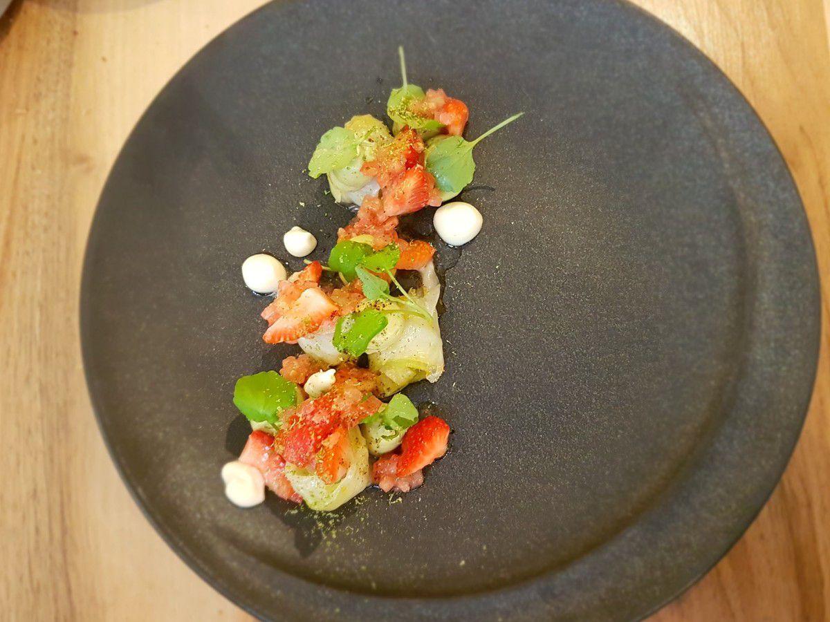 seiche / avocat / concombre / fraise Accents Accents Restaurant Paris 2