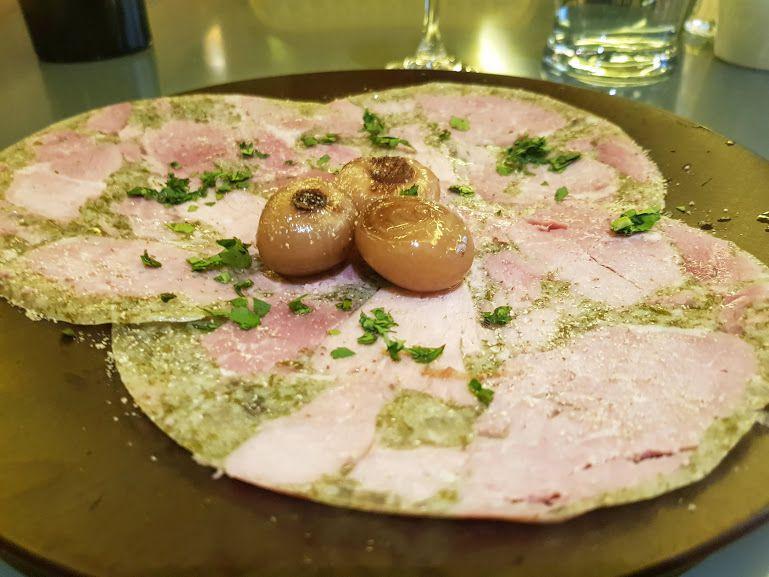 Jambon persillé de Bourgogne et ses cipollines Angelus Restaurant Paris 17