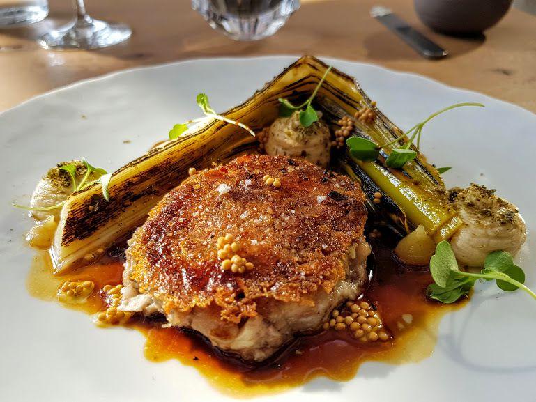 Tête de veau croustillante / poireau / mayonnaise L'Escargot 1903 Restaurant Puteaux (92)