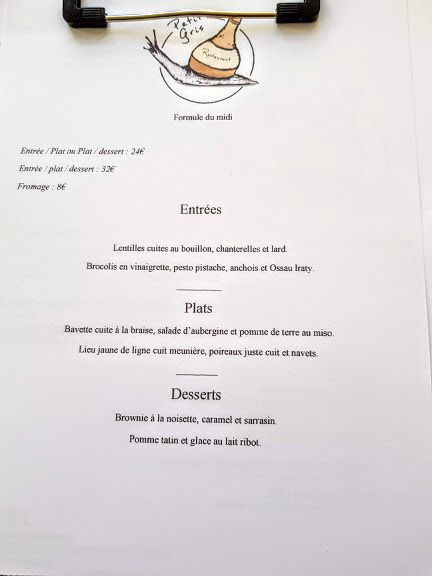 Menus de Petit Gris restaurant Paris 17