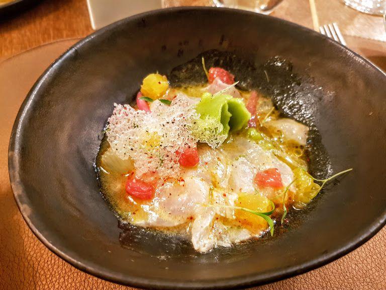 Ceviche de daurade royale, sorbet coriandre, cristalline aux Algues sergent recruteur restaurant Paris 4