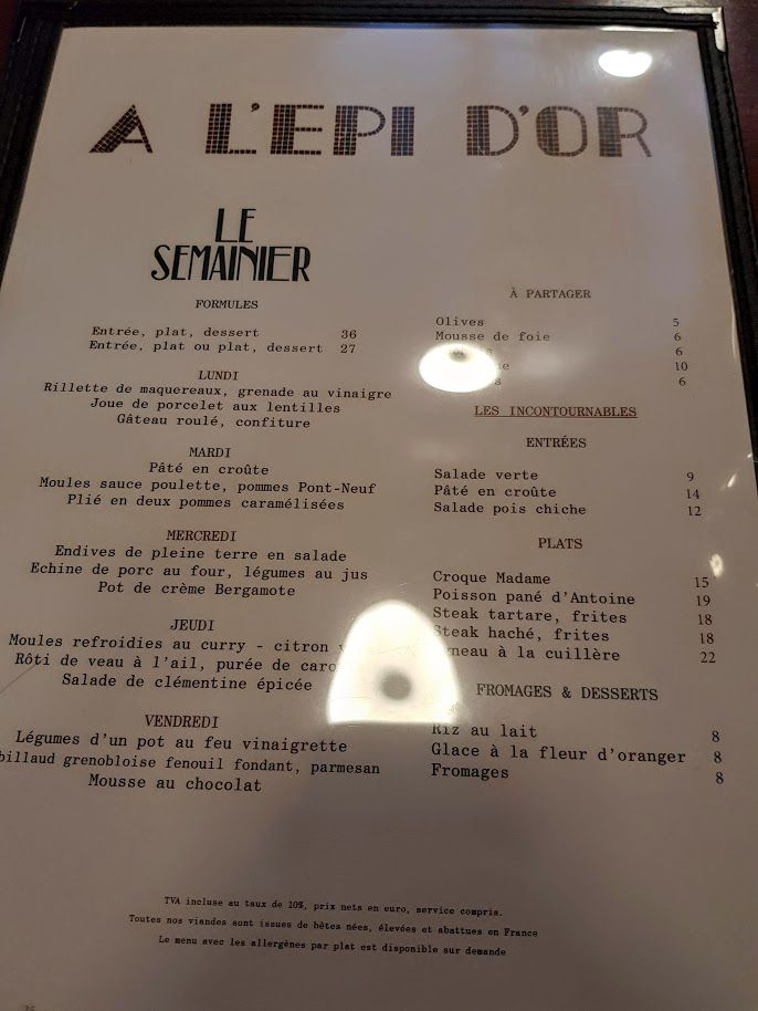 Menu L'Epi d'or