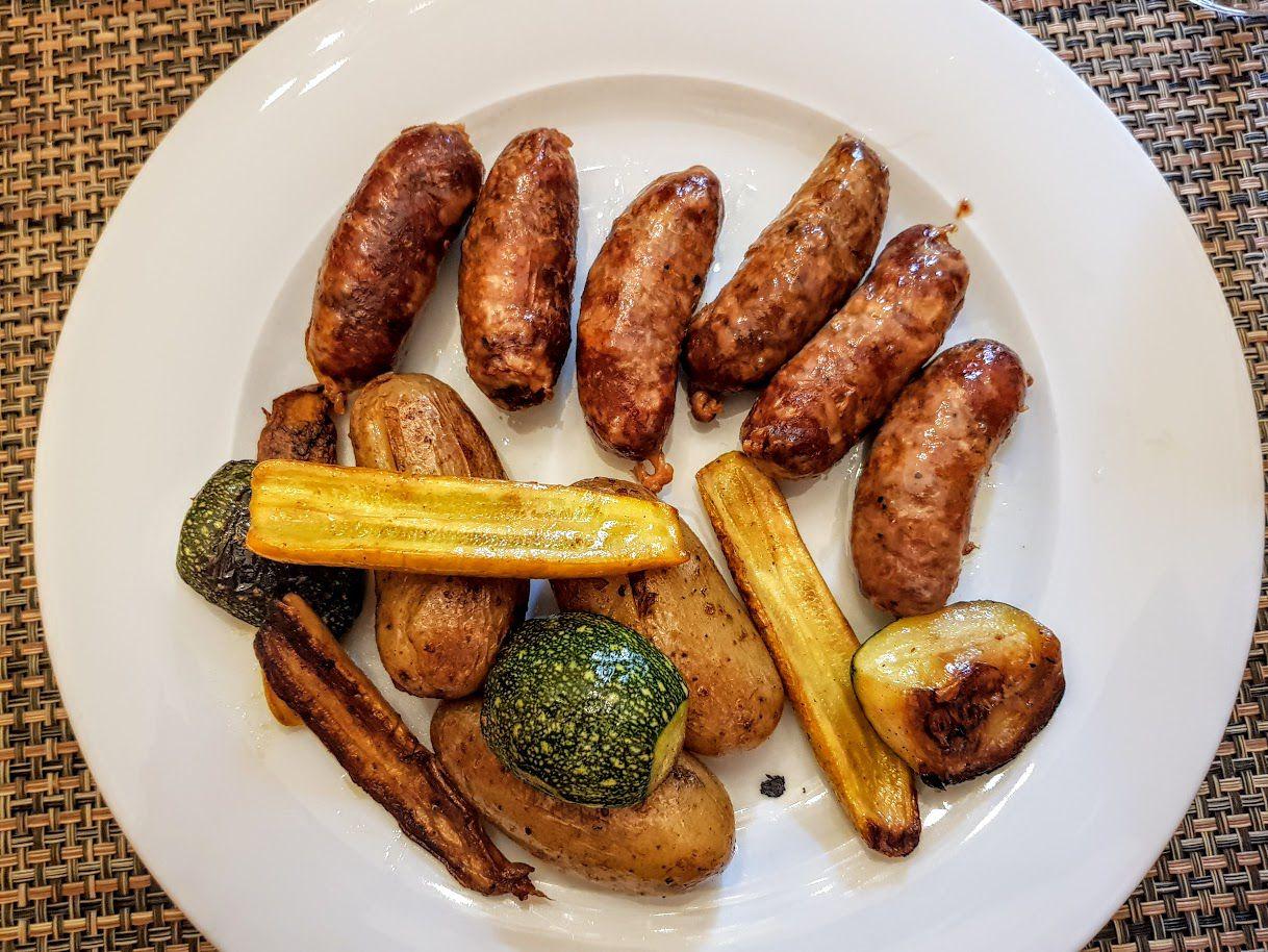 Saucisses confites légumes Mille et Zim restaurant Asnières