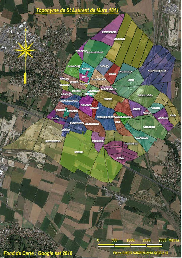 Carte de la distribution géographique des toponymes dans St Laurent de Mure en 1810 sur fond de photos aériennes GOOGLE-SAT©