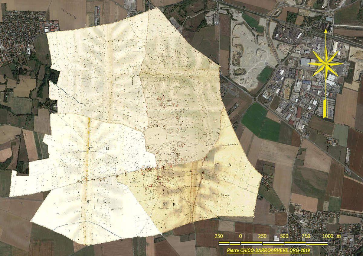 Assemblage des quatre feuilles et géolocalisation sur Google sat©