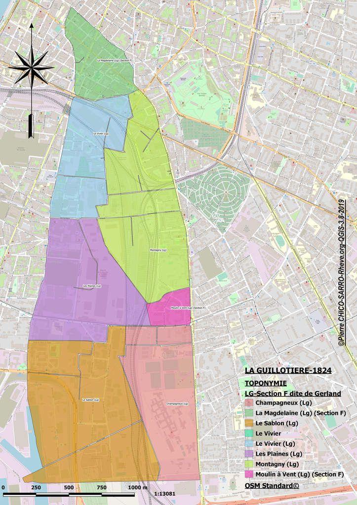 Cartes de l'occupation des sols et de la toponymie de la section F dite de Gerland