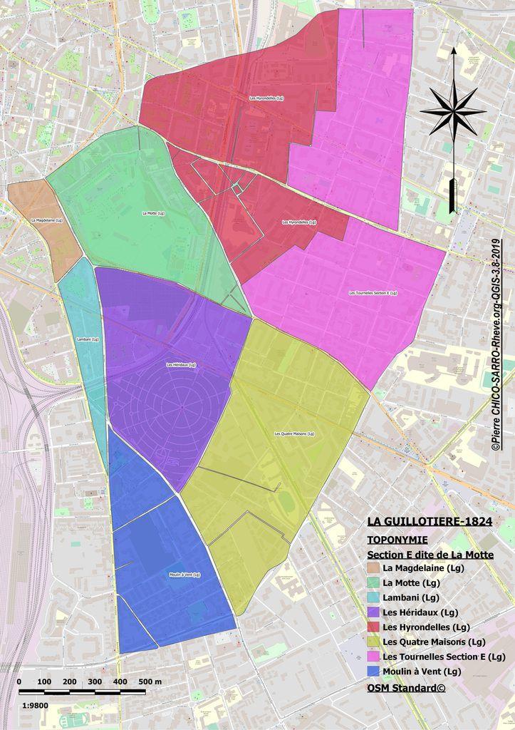 Cartes de l'occupation des sols et de la toponymie de la section E dite de La Motte