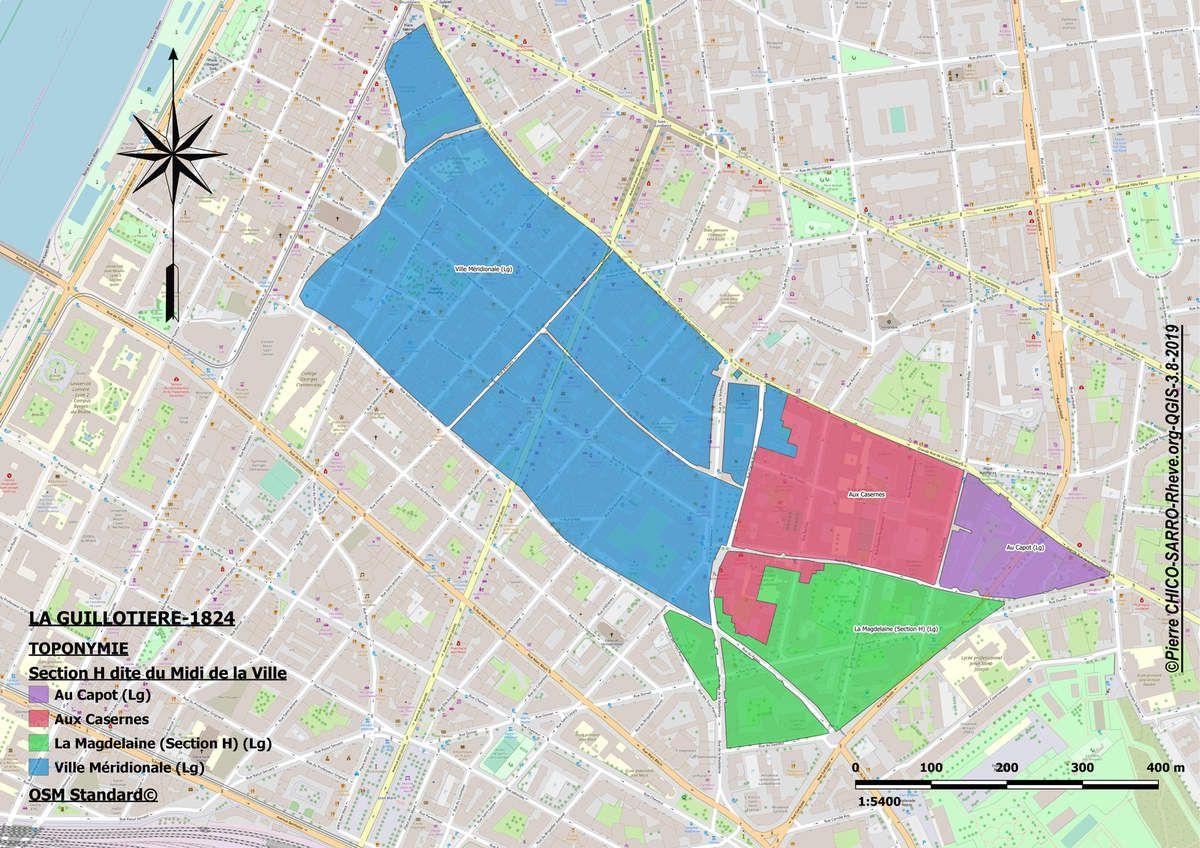 Cartes de l'occupation des sols et de la toponymie de la section H dite du midi de la Ville