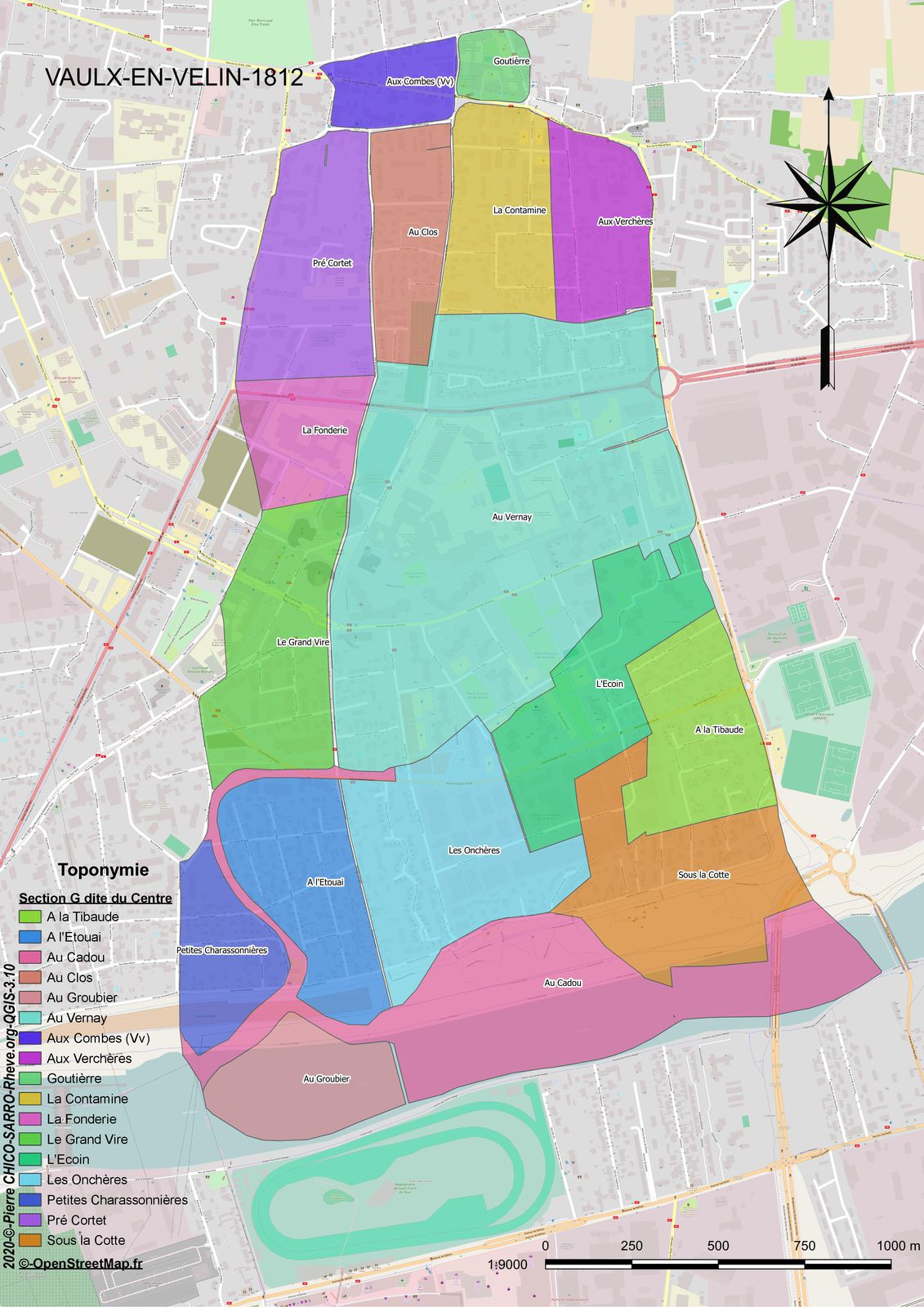 Distribution des toponymes de la section G dite du Centre à Vaulx-en-Velin en 1812