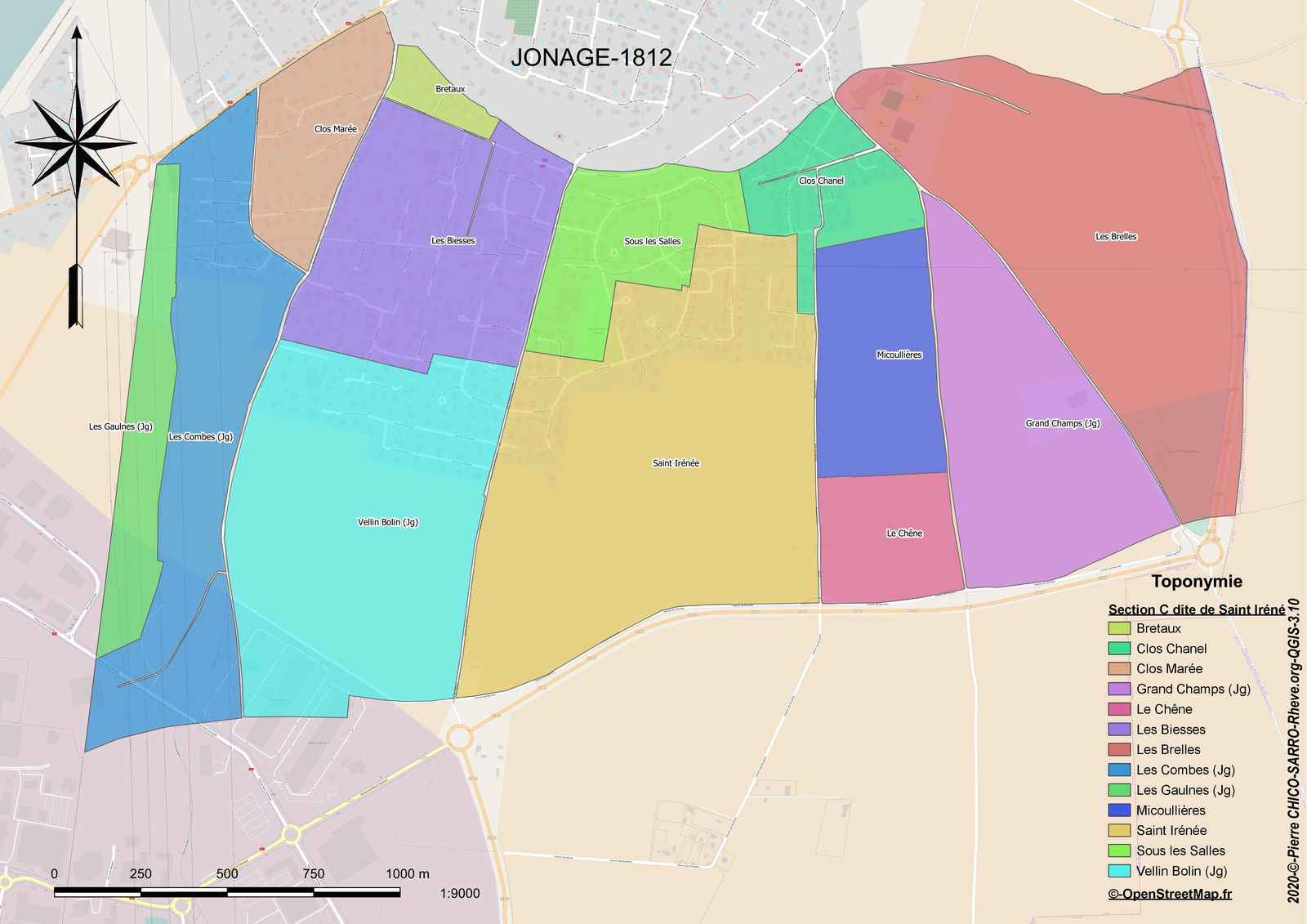 Distribution des toponymes de la Section C dite de Saint-Iréné à Joange en 1812