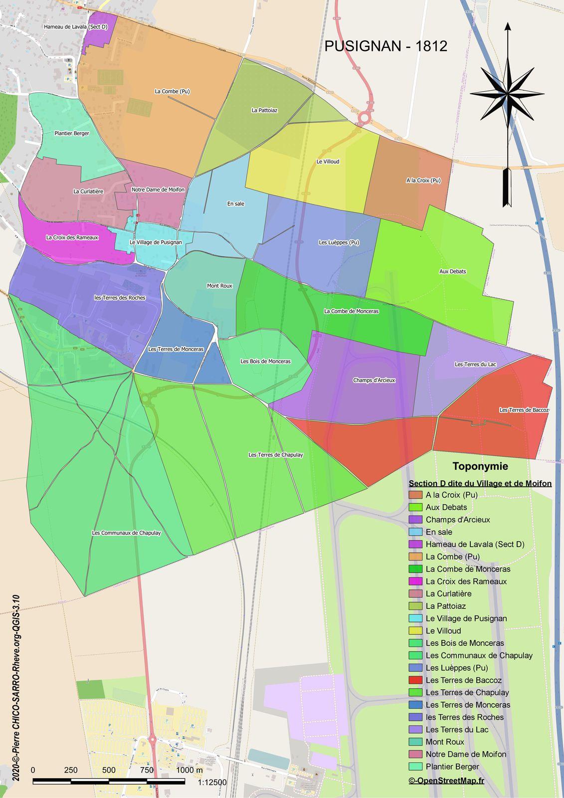 Distribution des toponymes de la section D dite du Village et de Moifon à Pusignan en 1812