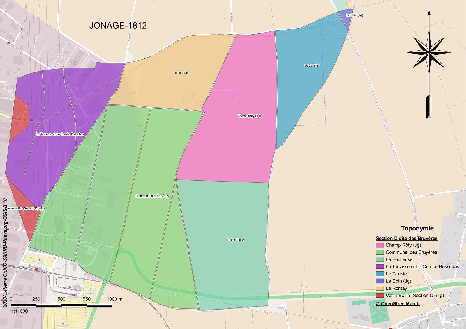 Distribution des toponymes de la section D dite des Bruyères à Jonage en 1812