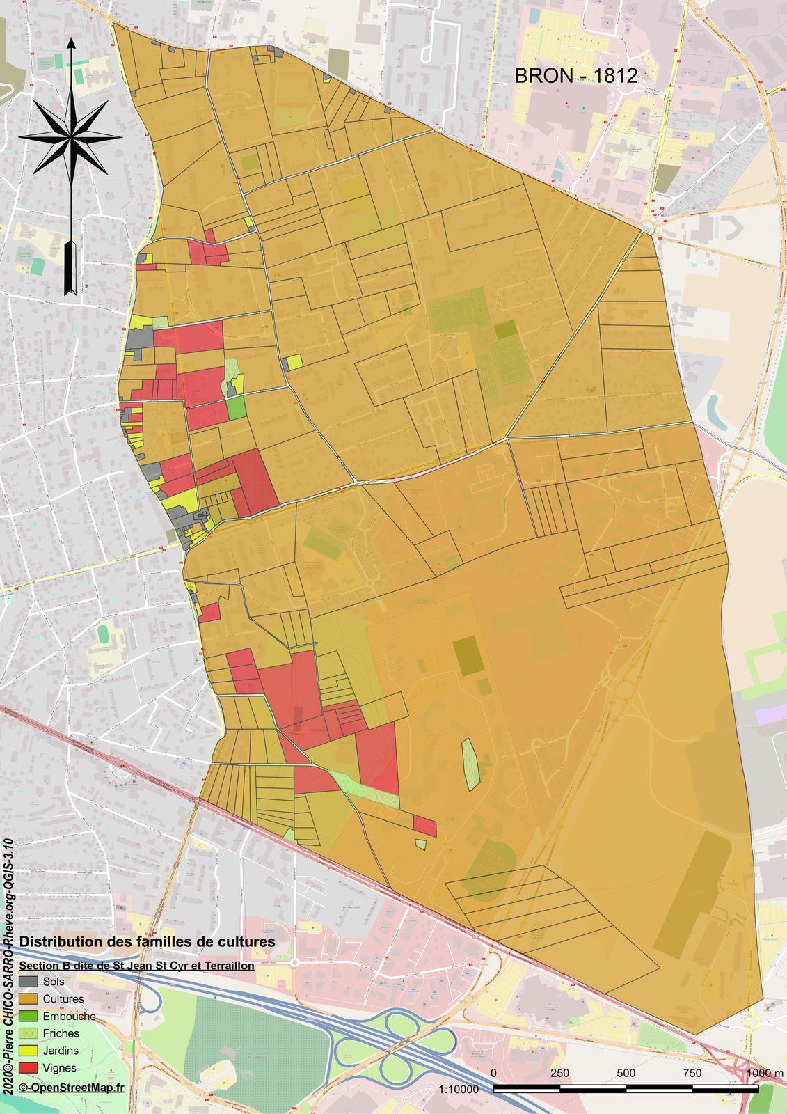 Distribution des familles de cultures sur la section B dite de Saint-Jean, Saint-Cyr et Terraillon à Bron en 1812
