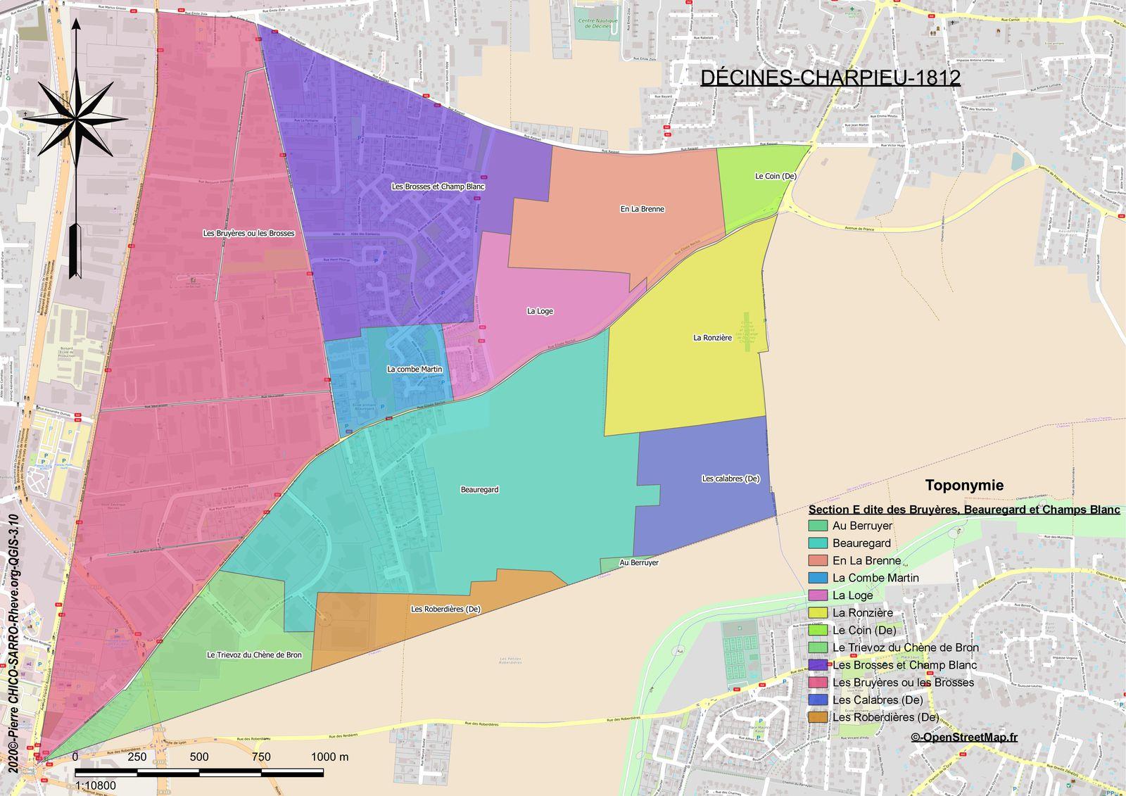 Distribution des toponymes de la section E dite des Bruyères à Décines-Charpieu en 1812