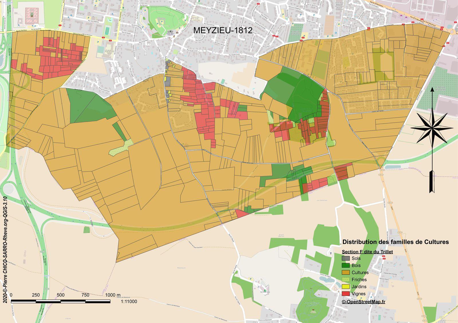 Distribution des familles de cultures sur la section F dite du Trillet à Meyzieu en 1812