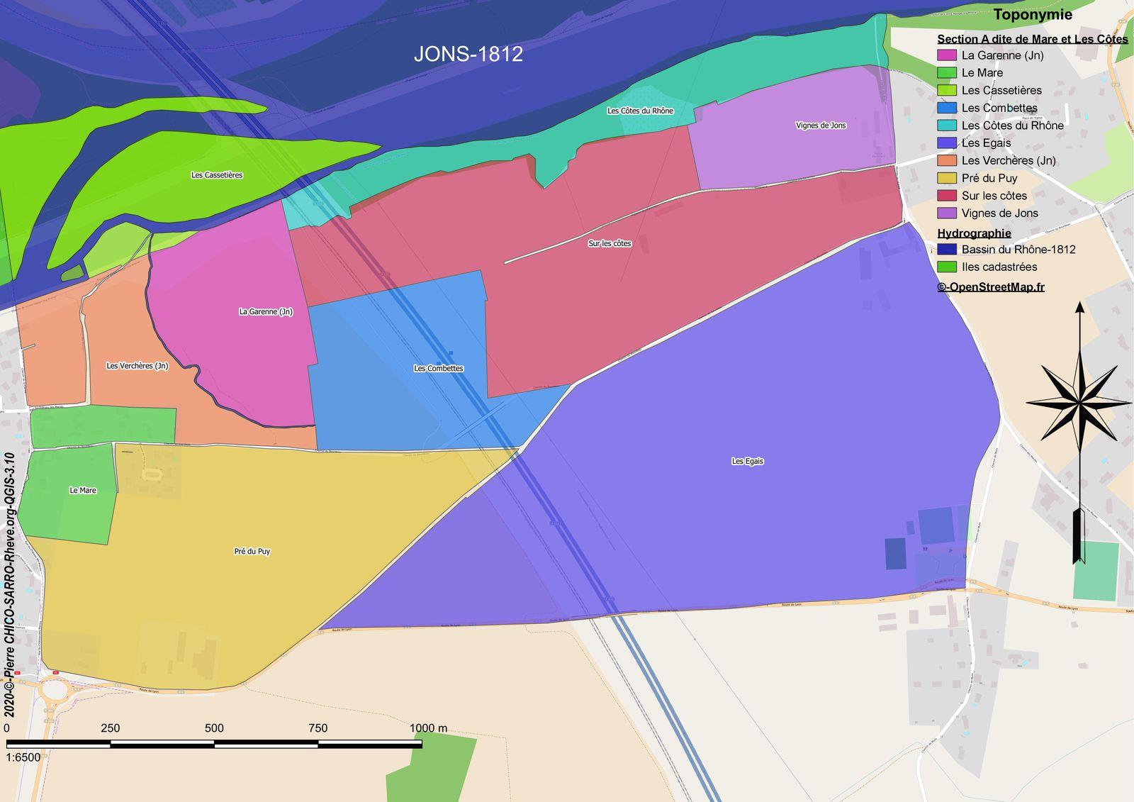 Distribution des toponymes de la section A dite de Mare et les Côtes à Jons en 1812