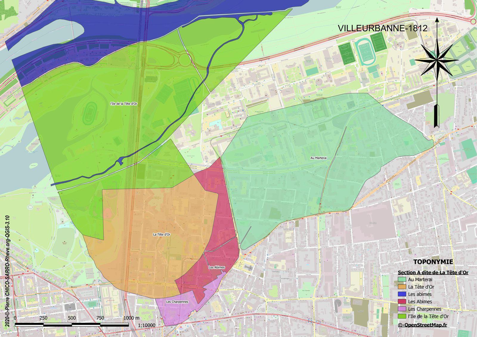 Distribution des toponymes sur la section A dite de la Tête d'Or à Villeurbanne en 1812