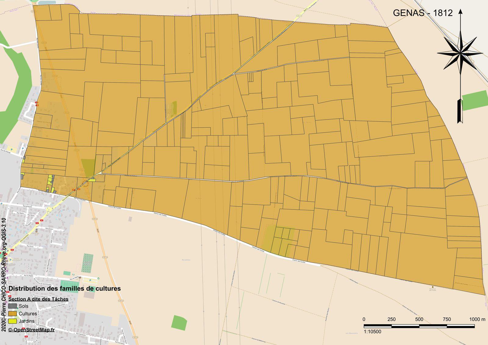Distribution des familles de cultures sur la section A dite des Tâches à Genas en 1812
