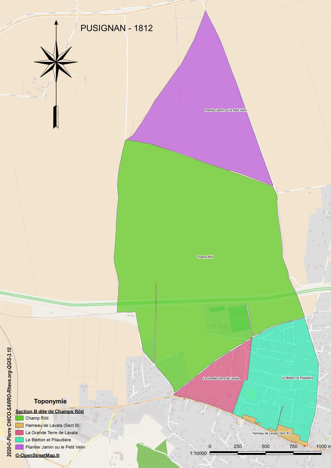 Distribution des toponymes de la section B dite de Champs Rôti à Pusignan en 1812