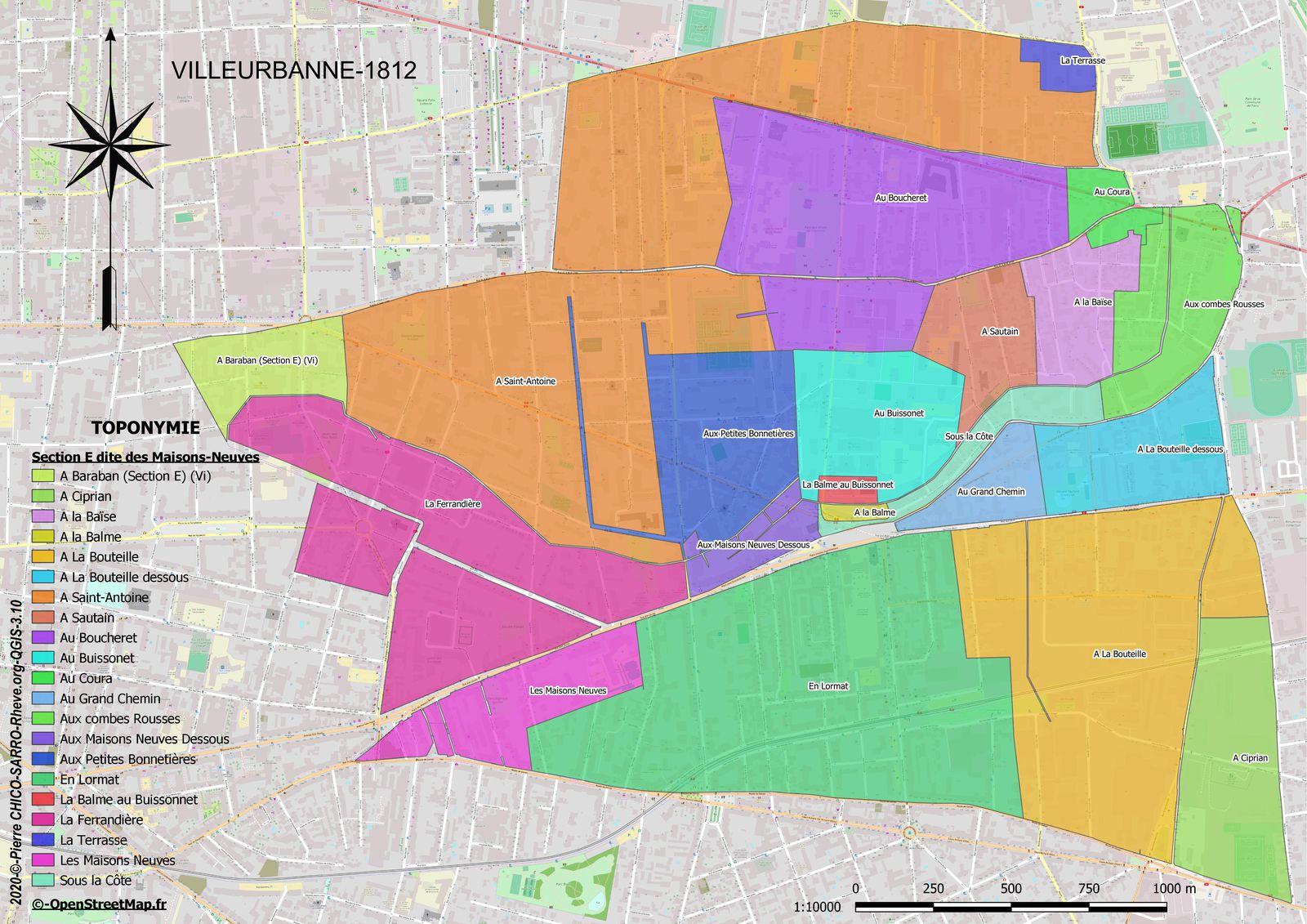 Distribution des toponymes sur la section E dite des Maisons Neuves à Villeurbanne en 1812