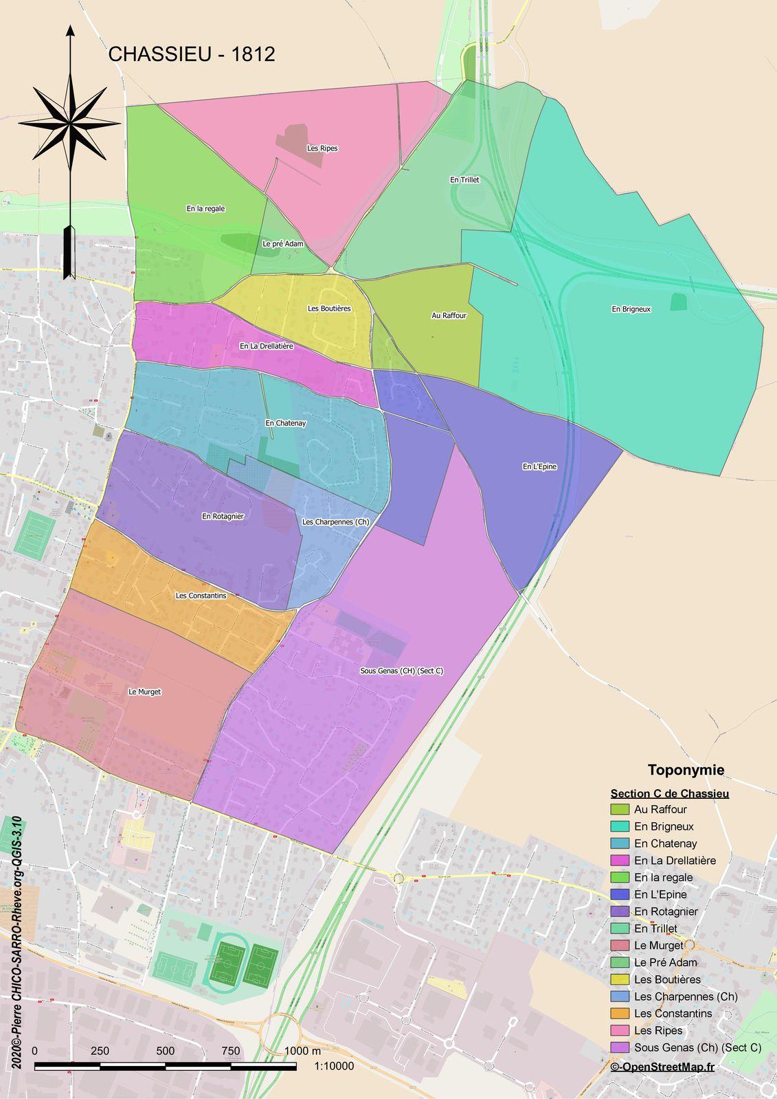 Distribution des toponymes de la section C de Chassieu (Nom indéterminé) à Chassieu en 1812