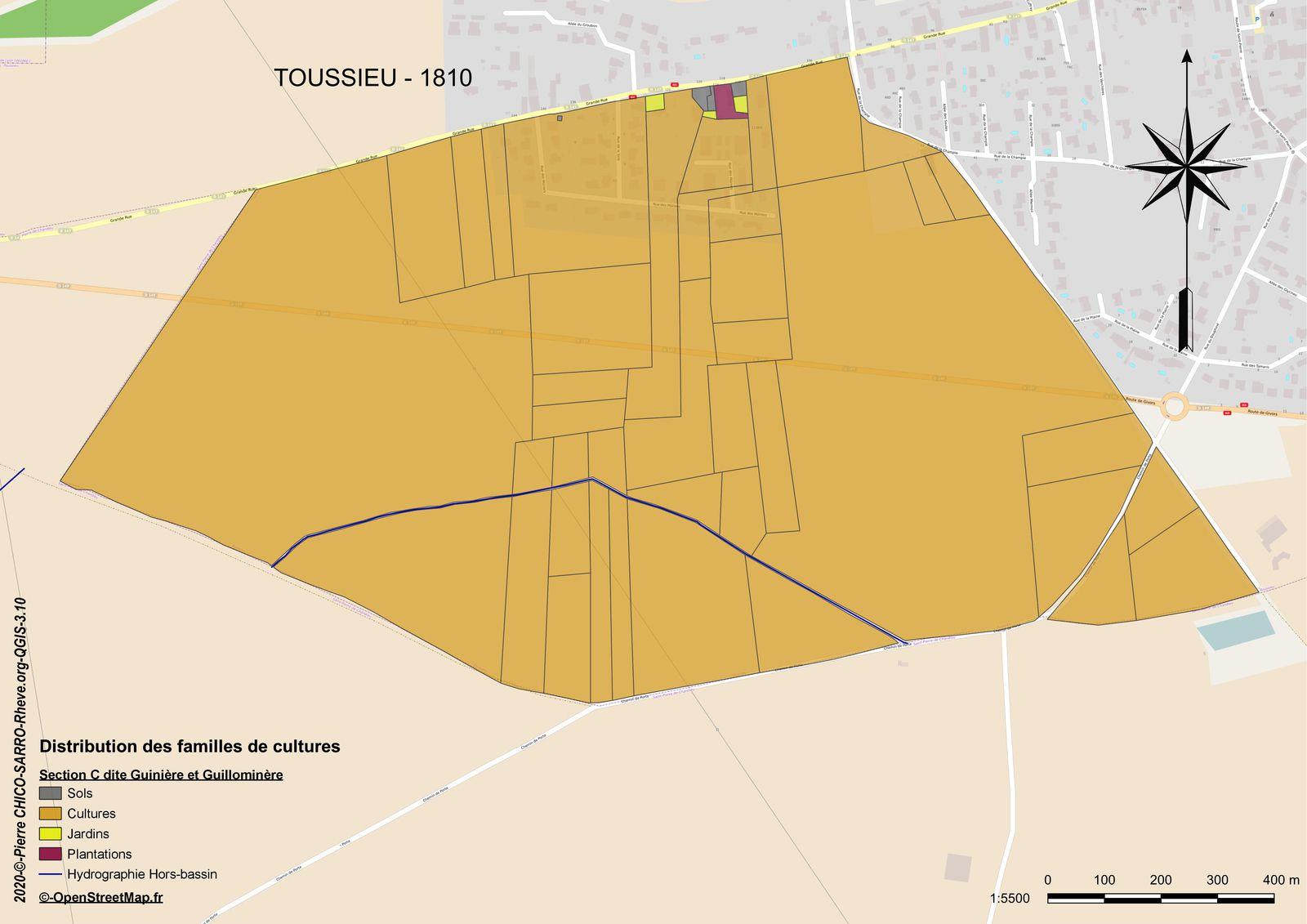 Carte de la distribution des familles de cultures dans la section C dite de Gunière et Guillominière à Toussieu en 1810