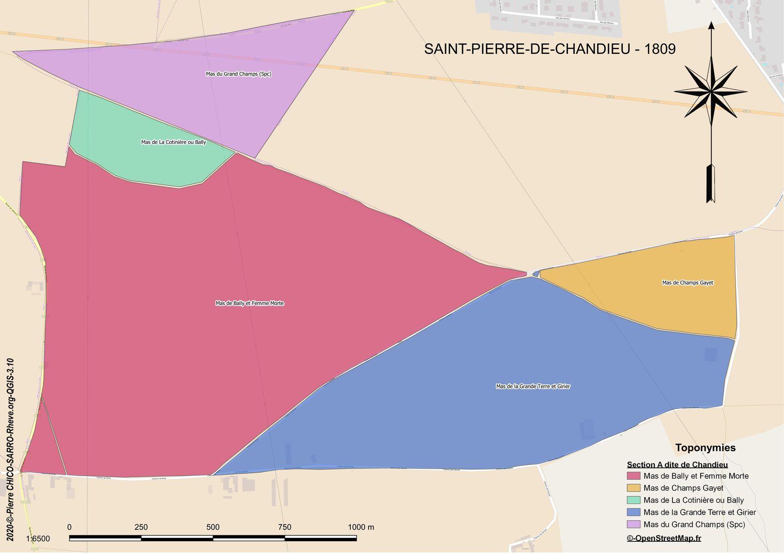 Carte de la localisation des toponymes dans la section A dite de Chandieu à Saint-Pierre-Chandieu en 1810