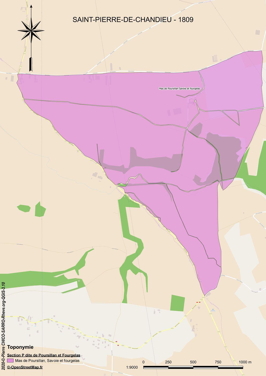Carte de la localisation des toponymes de la section P dite de Poursillan et Fourgelas à Saint-Pierre-Chandieu en 1810