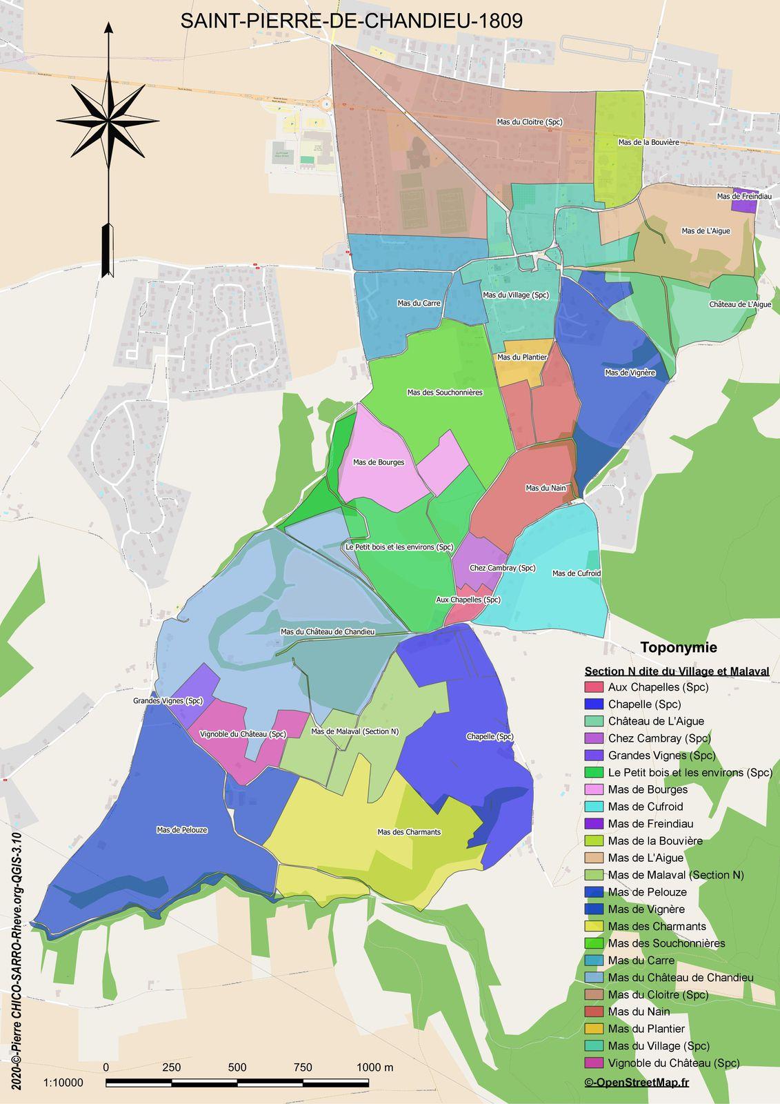 Carte de la localisation des toponymes dans la section N dite du Village et Malaval à Saint-Pierre-Chandieu en 1810