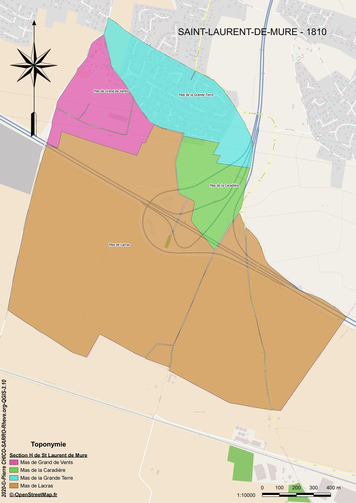 Carte de la localisation des toponymes de la section H dite de Saint-Laurent-de-Mure à Saint-Laurent-de-Mure en 1810