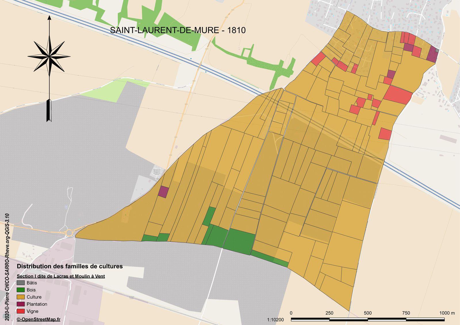 Carte de la distribution des familles de cultures dans la section I dite de Lacras et Moulin à Vent à Saint-Laurent-de-Mure en 1810