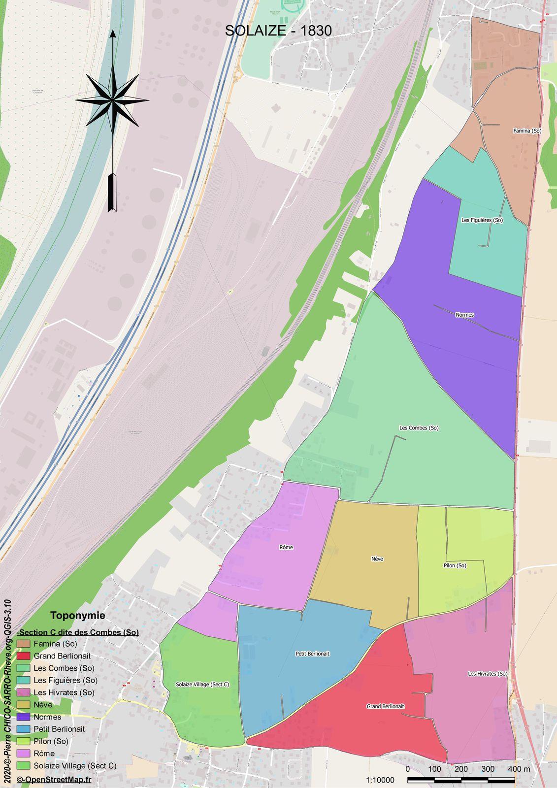 Distribution des toponymes dans la section C dite des Combes à Solaize en 1830