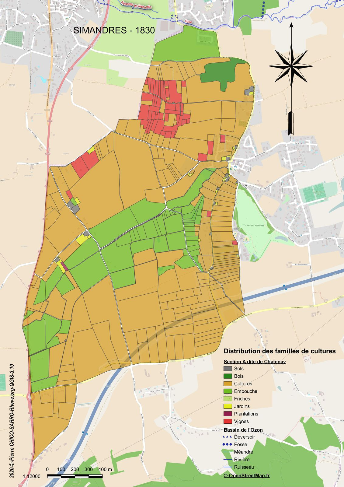Distribution des familles de cultures dans la section A dite de Chatenay à Simandres en 1830