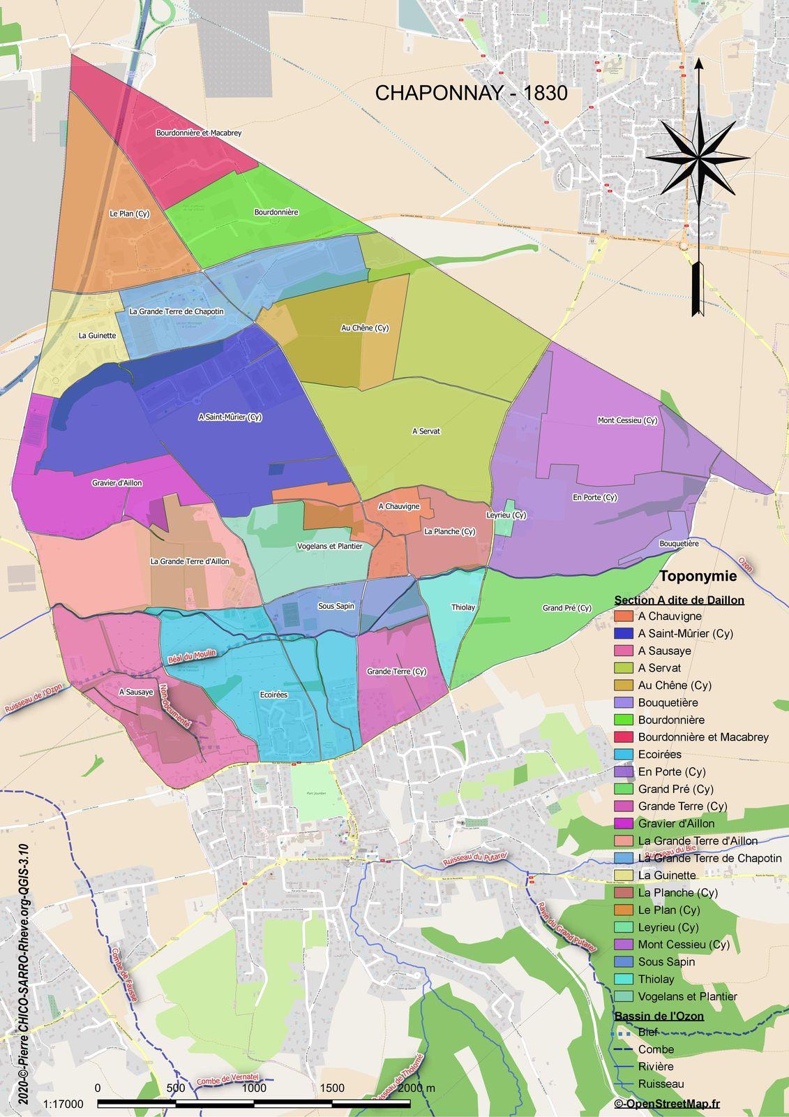 Distribution des toponymes de la section A dite de Daillon à Chaponnay en 1830